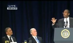 Ben Carson, right, speaking at the 2013 National Prayer Breakfast in Washington, where he burst on the national scene when he criticized Obamacare with President Obama himself seated nearby on the dais. (Courtesy of C-SPAN)