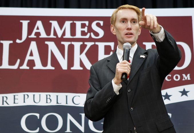** FILE ** This Aug. 24, 2010, file photo shows Rep. James Lankford speaking in Oklahoma City when he was a candidate. (AP Photo/Sue Ogrocki, File)