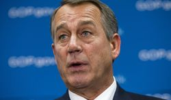 House Speaker John A. Boehner, Ohio Republican, demands that the White House and congressional Democrats negotiate with congressional Republicans about ways to reopen the government and address criticisms of the nation's new health care law, on Friday, Oct. 4, 2013, during a news conference on Capitol Hill in Washington.  (AP Photo/J. Scott Applewhite)