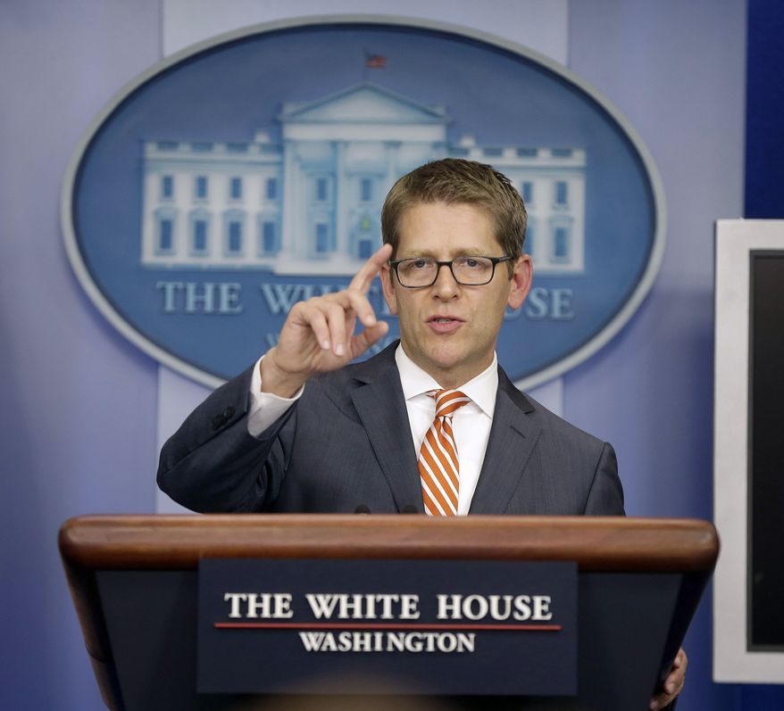 White House press secretary Jay Carney gestures during his daily news briefing at the White House in Washington, Friday, Oct. 4, 2013, where he took questions regarding the government shutdown. (AP Photo/Pablo Martinez Monsivais)
