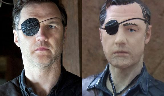 "Actor David Morrissey with eye patch in AMC's ""The Walking Dead."" compared to the Governor from McFarlane Toys' The Walking Dead TV Series 4."