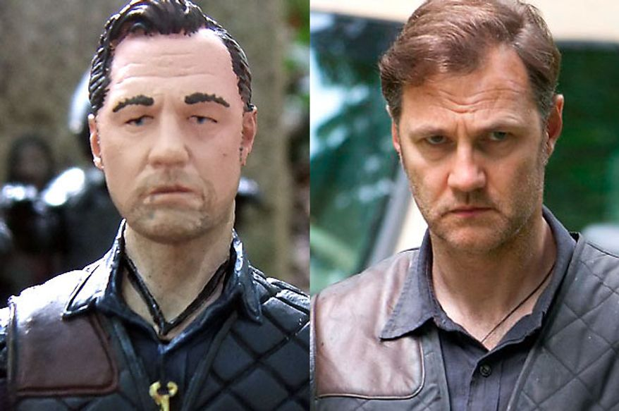 "The Governor from McFarlane Toys' The Walking Dead TV Series 4 compared to actor David Morrissey in AMC's ""The Walking Dead."""