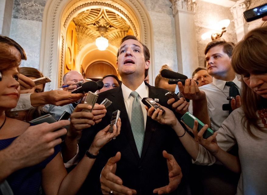 A Public Policy Polling survey found that Sen. Ted Cruz, Texas Republican, has past others including New Jersey Gov. Chris Christie and Sen. Rand Paul of Kentucky to become the top pick of GOP primary voters in the 2016 presidential nomination race. (Associated Press)