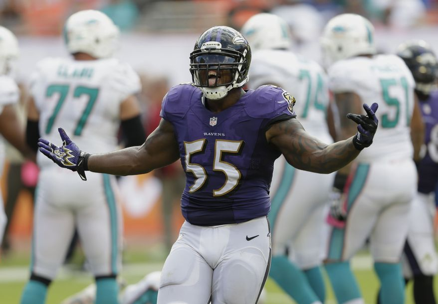 Baltimore Ravens outside linebacker Terrell Suggs (55) celebrates after sacking Miami Dolphins quarterback Ryan Tannehill (17) during the second half of an NFL football game, Sunday, Oct. 6, 2013, in Miami Gardens, Fla. The Ravens defeated the Dolphins 26-23. (AP Photo/Wilfredo Lee)