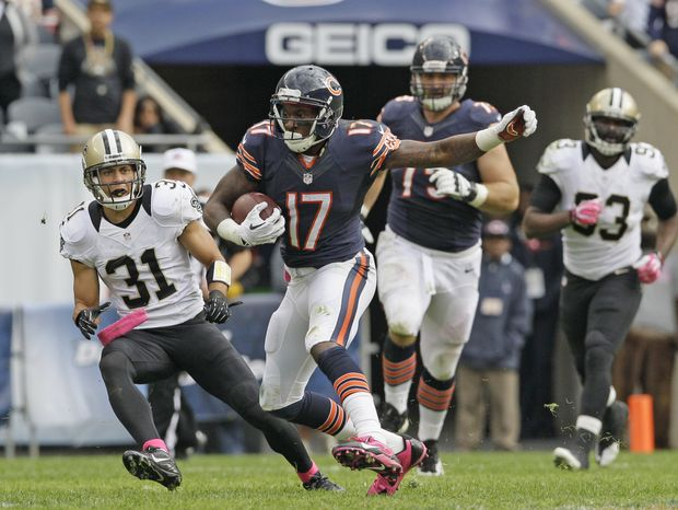 Chicago Bears wide receiver Alshon Jeffery (17) rushes during the second half of an NFL football game against the New Orleans Saints, Sunday, Oct. 6, 2013, in Chicago. Sai