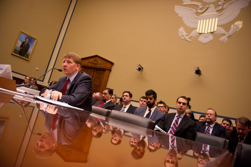 Consumer Financial Protection Bureau Director Richard Cordray testifies before the House Committee on Oversight and Government Reform, Subcommittee on Tarp, Financial Services, and Bailouts of Public and Private Programs in the Rayburn House Office Building on Capitol Hill, Washington, DC, Tuesday, January 24, 2012. (Andrew Harnik / The Washington Times)