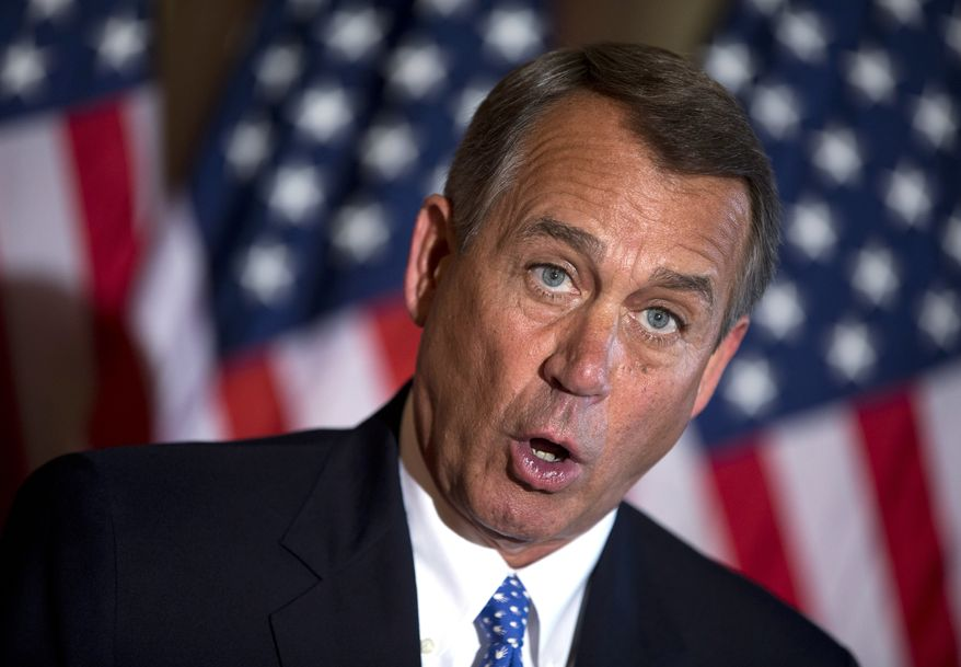 Speaker of the House Rep. John Boehner, R-Ohio, speaks during a news conference on the ongoing budget battle outside his office on Capitol Hill on Tuesday, Oct. 8, 2013 in Washington. (AP Photo/ Evan Vucci)
