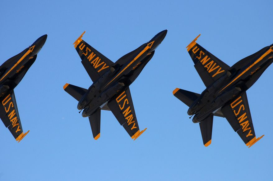 The U.S. Navy flight demonstration team, the Blue Angels, fly in a delta formation over Naval Air Facility El Centro, Calif., March 11, 2010, during a practice air show. The El Centro air show is the first of 35 air shows in the team?s 2010 season. (DoD photo by Mass Communication Specialist Seaman Stephen D. Doyle II, U.S. Navy/Released)