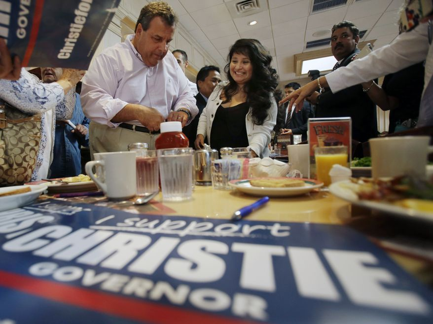** FILE ** New Jersey Gov. Chris Christie signs campaign posters for his supporters at the Edison Diner during a campaign stop in Edison, N.J., Tuesday, Oct. 8, 2013. (AP Photo/Mel Evans)