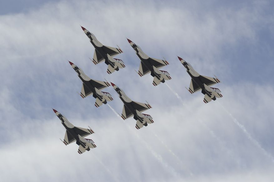 The Thunderbirds fly the Delta formation during their acceptance show for the Commander of Air Combat Command, General Will Fraser. (U.S. Air Force photo/Staff Sgt. Richard Rose Jr.).