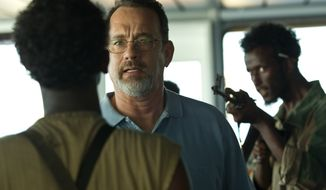"Tom Hanks, center, in a scene from ""Captain Phillips."" (AP Photo/Sony - Columbia Pictures)"