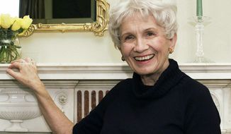 "** FILE ** In this Oct. 28, 2002, file photo, Canadian author Alice Munro poses for a photograph at the Canadian Consulate's residence in New York. Munro has won this year's Nobel Prize in literature it was announced Thursday Oct. 10, 2013. The Swedish Academy, which selects Nobel literature winners, called her a ""master of the contemporary short story."" (AP Photo/Paul Hawthorne, File)"