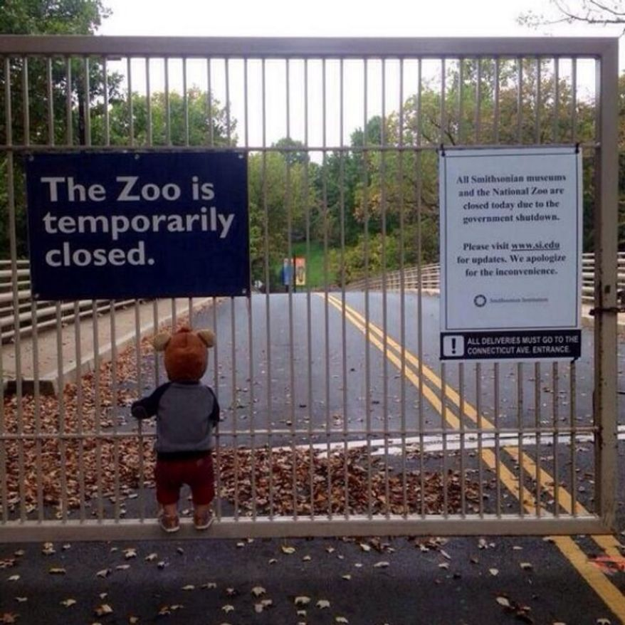 A child looks longingly through the locked gates of the National Zoo in this shutdown photograph posted on the social media site, Reddit.