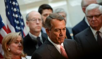 House Speaker John Boehner, (R-Ohio) speaks at a press conference with Republicans at the U.S. Capitol Building, Washington, D.C., Thursday, October 10, 2013. (Andrew Harnik/The Washington Times)