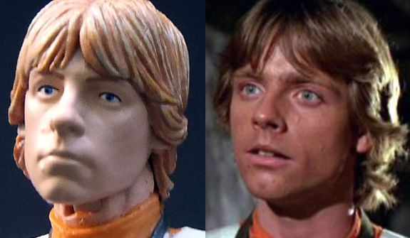 Hasbro's Star Wars: The Black Series, Luke Skywalker compared to actor Mark Hamill as Luke Skywalker.
