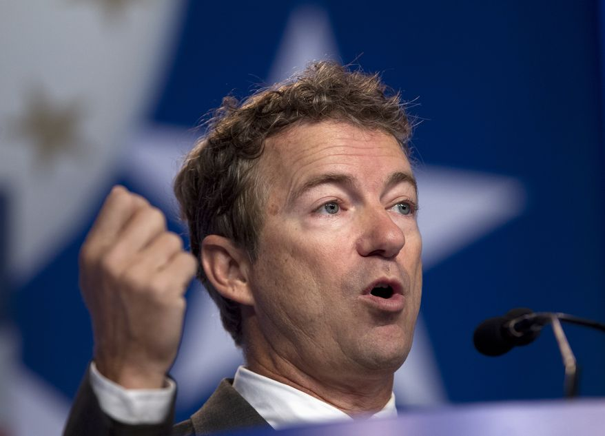 Sen. Rand Paul, Kentucky Republican, speaks during the Values Voter Summit, sponsored by the Family Research Council, on Friday, Oct. 11, 2013, in Washington. (AP Photo/Jose Luis Magana)