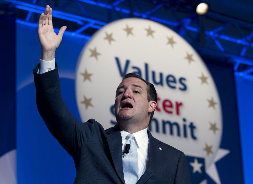 Sen. Ted Cruz R-Texas addresses the Values Voter Summit, held by the Family Research Council Action, Friday, Oct. 11, 2013, in Washington. ( AP Photo/Jose Luis Magana)