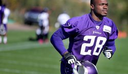 Minnesota Vikings' Adrian Peterson makes his way off an NFL football practice field at Winter Park in Eden Prairie, Minn., Friday, Oct. 11, 2013. Peterson said he is certain he will play Sunday despite a serious personal matter that caused him to miss practice earlier this week. (AP Photo/The Star Tribune, Elizabeth Flores)  ST. PAUL PIONEER PRESS OUT; SOFT OUT MINNEAPOLIS-AREA TV NOT TV OUT; MAGAZINES OUT