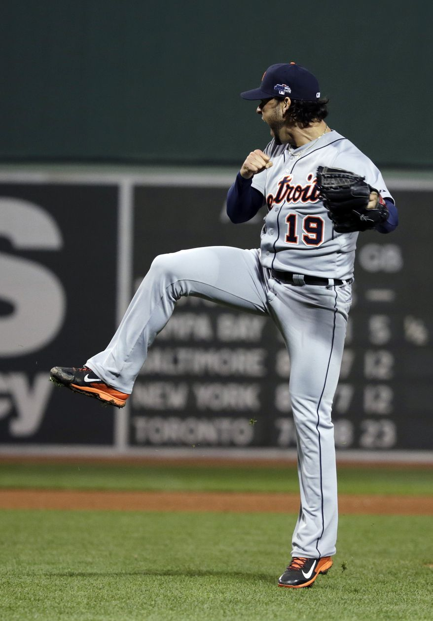 Detroit Tigers starting pitcher Anibal Sanchez reacts after striking out Boston Red Sox's Stephen Drew with the bases loaded to end the sixth inning in Game 1 of the American League baseball championship series Saturday, Oct. 12, 2013, in Boston. (AP Photo/Charles Krupa)