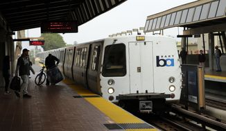 ** FILE ** Bay Area Rapid Transit travelers wait to board an arriving train Saturday, Oct. 12, 2013, in Oakland, Calif. (AP Photo/Ben Margot)