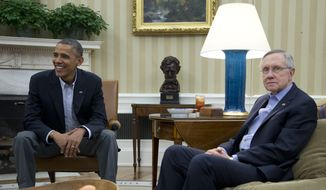 President Barack Obama, left, and Senate Majority Leader Harry Reid of Nev., meet with Sen. Patty Murray, D-Wash., Sen. Dick Durbin, D-Ill., and Sen. Charles Schumer, D-N.Y.,  in the Oval Office of the White House, Saturday, Oct. 12, 2013, in Washington. The federal government remains partially shut down and faces a first-ever default between Oct. 17 and the end of the month. (AP Photo/Carolyn Kaster)