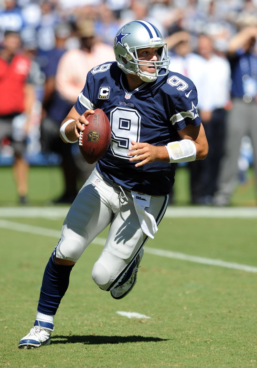 Dallas Cowboys quarterback (9) Tony Romo in action during a game against the San Diego Chargers played at Qualcomm Stadium in San Diego on Sunday, Sept. 29, 2013. (AP Photo/John Cordes)