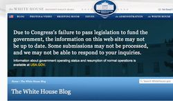 A screen grab of the official White House website reveals that the federal government shutdown has taken its toll on transparency and blames Congress.