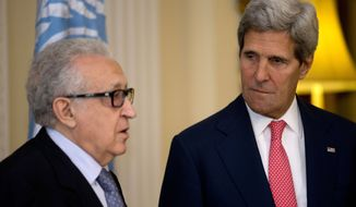 U.N-Arab League envoy for Syria Lakhdar Brahimi, left, speaks next to U.S. Secretary of State John Kerry, after their meeting at Winfield House, the residence of the U.S. Ambassador to Britain, in London, Monday, Oct. 14, 2013. Kerry and Brahimi said Monday that an international conference to set up a Syrian transitional government must be organized urgently and held as soon as possible. (AP Photo/Jacquelyn Martin, Pool)