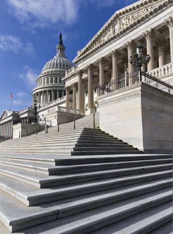 Steps lead up to the Senate at the Capitol as a partial government shutdown enters its third week, in Washington, Monday, Oct. 14, 2013. Congress is at an impasse as Senate Democratic and Republican leaders remained at odds over spending in their last-ditch negotiations to end the crises gripping the nation. (AP Photo/J. Scott Applewhite)