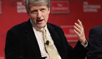 ** FILE ** In the Tuesday, Oct. 26, 2010, file photo, Robert Shiller, professor of economics at Yale, speaks at the Buttonwood Gathering, in New York. Americans Shiller, Eugene Fama and Lars Peter Hansen have won the Nobel Memorial Prize in Economic Sciences, Monday, Oct. 14, 2013. (AP Photo/Mark Lennihan, File)