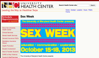 (Screen grab of http://www.health.umd.edu/sexweek)