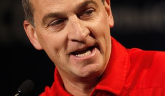Maryland basketball coach Mark Turgeon answers a question at a news conference during the NCAA college Atlantic Coast Conference media day in Charlotte, N.C., Wednesday, Oct. 16, 2013. (AP Photo/Nell Redmond)