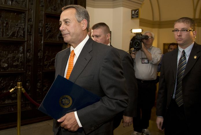 House Speaker John Boehner of Ohio arrives on Capitol Hill, Wednesday, Oct. 16, 2013, in Washington.   Chaos among Republicans in the House of Representatives has left it to bipartisan leaders in the Senate to craft a last-minute dea