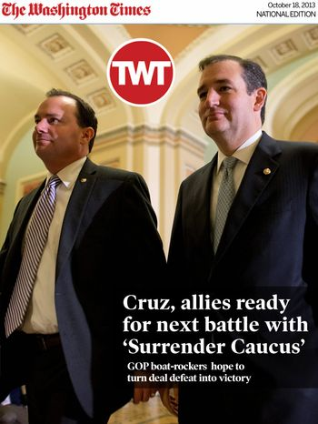 National Edition News Cover for October 18, 2013 - Republicans Sens. Mike Lee of Utah (left) and Ted Cruz of Texas walk to the Senate floor to vote on a bill to raise the debt ceiling and open the federal government. (Associated Press)