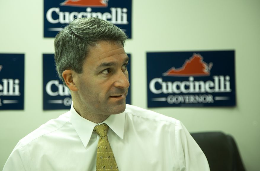 """Kenneth """"Ken"""" Cuccinelli II, Attorney General of Virginia, talks with reporters from the Washington Times about running as the Republican candidate for Governor of Virginia in the 2013 Virginia gubernatorial election, in Springfield, VA., Thursday, October 17, 2013.  (Andrew S Geraci/The Washington Times)"""
