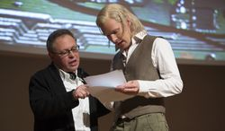"""Director Bill Condon, left, with actor Benedict Cumberbatch on the set of """"The Fifth Estate."""" (AP Photo/Dreamworks Pictures,  Frank Connor)"""