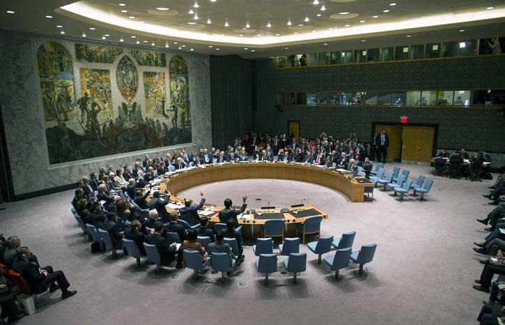 ** FILE ** In this Friday, Sept. 27, 2013, file photo, the United Nations Security Council votes on a resolution that will require Syria to give up its chemical weapon, at U.N. Headquarters. Saudi Arabia is rejecting its seat on the U.N. Security Council and says the 15-member body is incapable of resolving world conflicts. (AP Photo/Craig Ruttle, File)