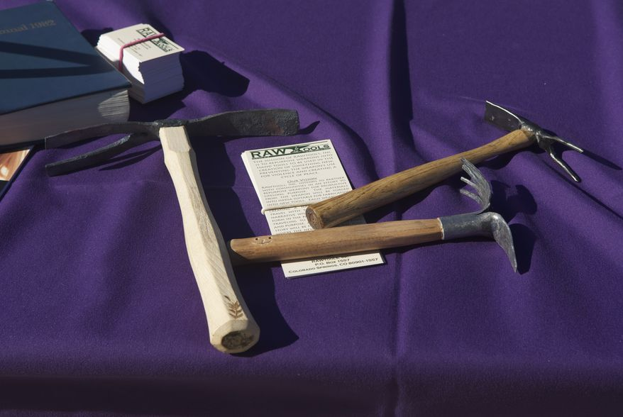 These garden tools were made out of illegal guns during an event at the Washington National Cathedral on Sunday, Oct. 20, 2013, in Washington.