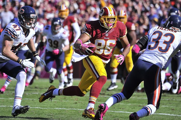 Washington Redskins tight end Jordan Reed (86) runs for a first down against the Chicago Bears at FedExField, Landover, Md., October 20, 2013. (Preston Keres/Special for The Washington Times)
