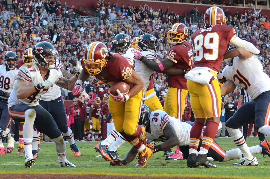 Washington Redskins running back Roy Helu (29) scores the game winning touch down as the Washington Redskins play the Chicago Bears at FedExField, Landover, Md., October 20, 2013. (Dan DeCook/Special to The Washington Times)