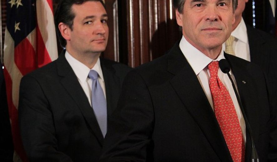 Sen. Ted Cruz and Gov. Rick Perry appear together during a Texas news conference. (credit: KUT News)