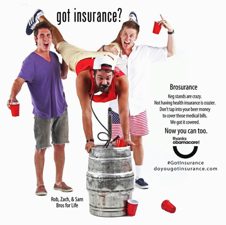 """A """"brosurance"""" outreach for Obamacare aimed at young males from the Colorado Consumer Health Initiative and ProgressNow Colorado taps into party mentality. (Colorado Consumer Health Initiative)"""