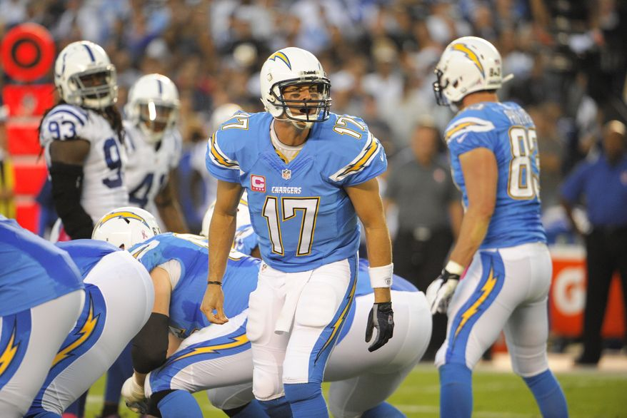 San Diego Chargers quarterback Philip Rivers (17) plays during the second half of an NFL football game against the Indianapolis Colts Monday, Oct. 14, 2013, in San Diego. (AP Photo/Denis Poroy)
