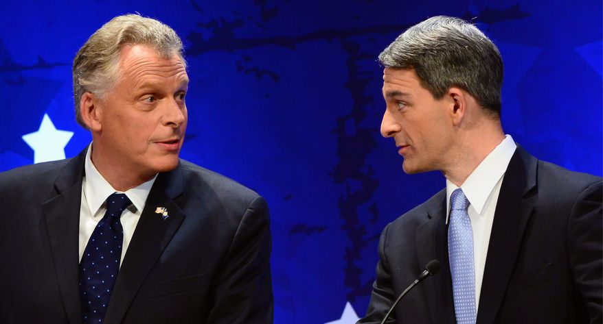 A gaffe-free final debate performance by Democrat Terry McAuliffe (left) would not aid Virginia Attorney General Kenneth T. Cuccinelli II in his bid to be Virginia's next governor. Mr. McAulliffe is holding a lead in polls in the high single digits. (associated press)