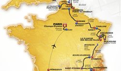 In this photo provided on Wednesday, Oct. 23, 2013 by the Tour de France organizers Amaury Sport Organisation (ASO), a map displaying the route for the 2014 Tour De France. Starting in Leeds, England, on July 5, the 101st Tour ends 22 days later, as is traditional, on the Champs-Elysees in Paris. With 25 ascents, the same as the 2012 edition won by Bradley Wiggins and only three fewer than this year's centennial dominated by Froome, the 2014 race will again suit strong climbers — perhaps even more so than in previous years because of the reduced emphasis on time-trialing. (AP Photo/ASO)