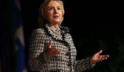 Former Secretary of State Hillary Clinton speaks to those attending the distinguished speaker event at the University at Buffalo's Alumni Arena Wednesday, Oct. 23, 2013, in Buffalo, N.Y. (AP Photo/The Buffalo News, Robert Kirkham)