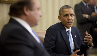 President Barack Obama meets with Pakistan Prime Minister Nawaz Sharif in the Oval Office of the White House in Washington, Wednesday, Oct. 23, 2013. In the rocky relationship between the U.S. and Pakistan, the mere fact that Obama and Sharif sit down is seen as a sign of progress. Few breakthroughs are expected on the numerous hot-button issues on their agenda Wednesday, including American drone strikes and Pakistan's alleged support of the Taliban. (AP Photo/Pablo Martinez Monsivais)