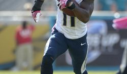 San Diego Chargers wide receiver Eddie Royal (11) runs after making a catch during the second half of an NFL football game against the Jacksonville Jaguars in Jacksonville, Fla., Sunday, Oct. 20, 2013.(AP Photo/Phelan M. Ebenhack)