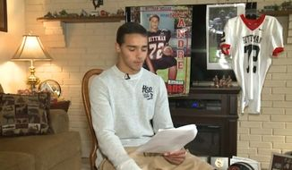 Nick Andre, 16, a junior defensive end on the Rittman High School football team in Ohio, has been suspended from school for a disparaging poem about his team. (Courtesy of fox8.com)