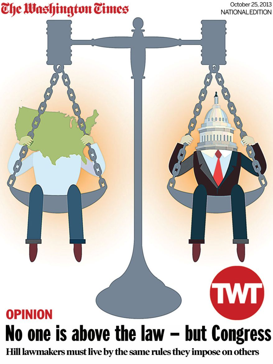 National Edition Opinion cover for October 25, 2013 - No one is above the law - but Congress (Illustration by Linas Garsys  for The Washington Times)